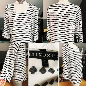 BRIXON IVY Blouse Lg White w/Black Loose Fit GUC